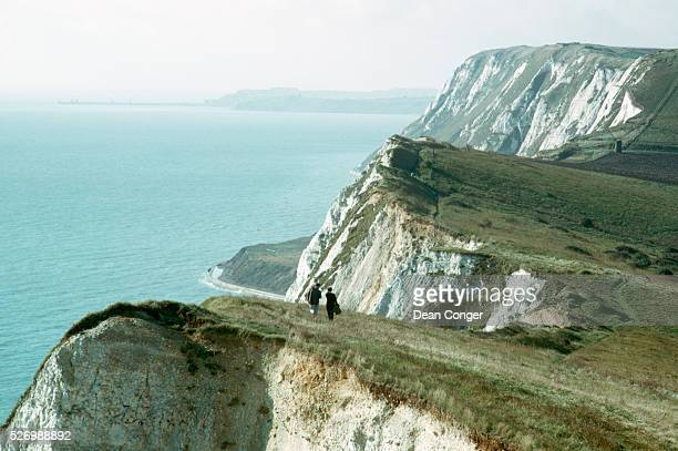 Couple Walking Along White Cliffs of Dover