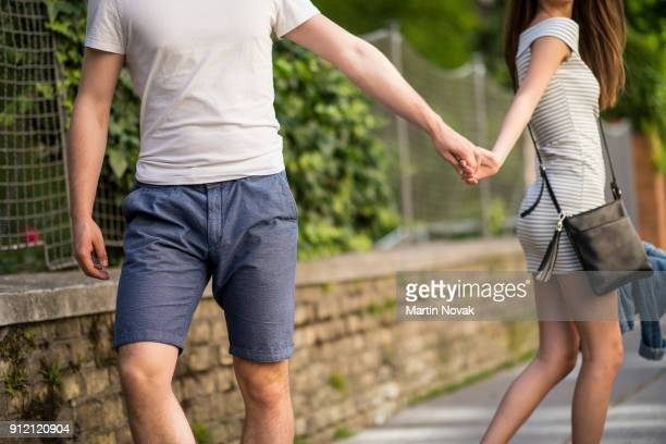 Couple walking away from each other