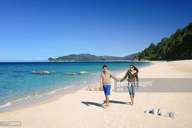 Couple walking down the Beach, Abel Tasman, New Zealand (XXXL)