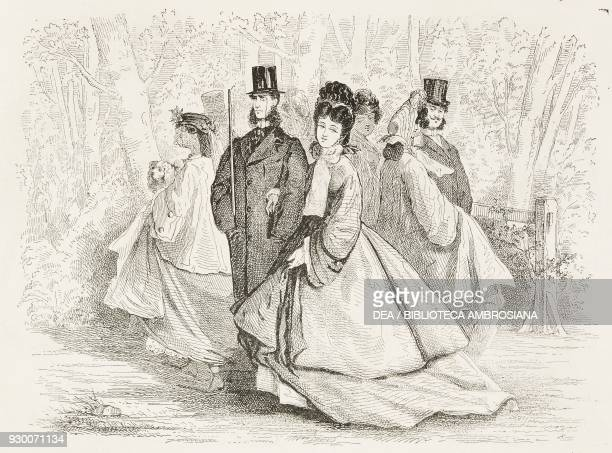 A couple walking in the Bois de Boulogne Paris France illustration by Hermann Raunheim from the Journal Amusant No 429 March 19 1864
