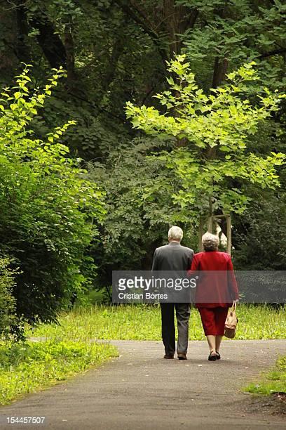 couple walking in the park - bortes stock-fotos und bilder