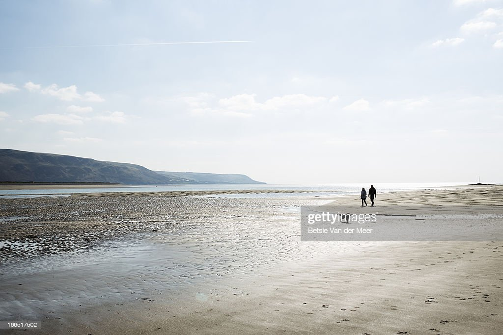 Couple walking on beach with dog, North wales. : Stock Photo