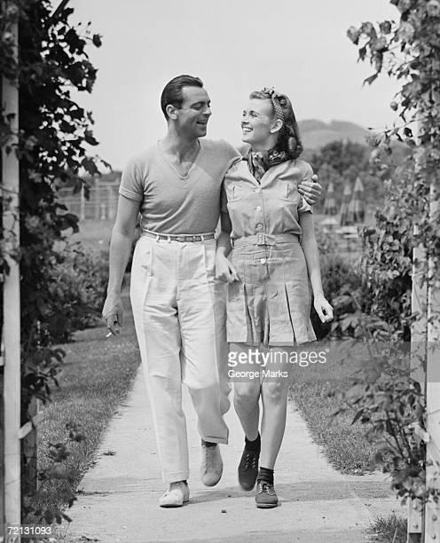 Couple walking on footpath (B&W)