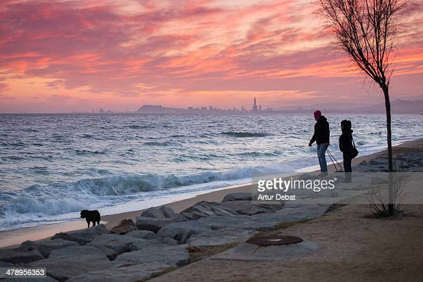 Couple walking the dog at the beach with sunset and cityscape background