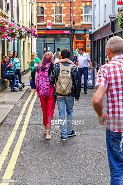 Couple walking through Wexford town centre