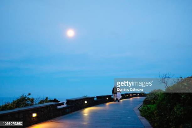 couple walking under full moon in los cancajos' beachway (breña baja, canary islands) - moonlight lovers stock-fotos und bilder