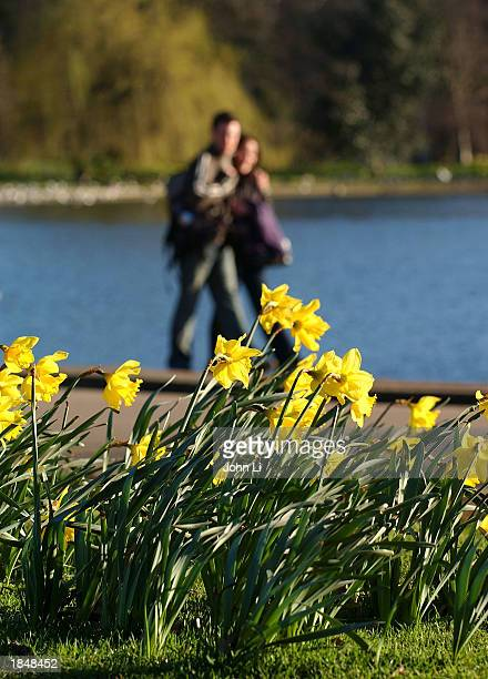 A couple walks by the Serpentine Pond in Hyde Park March 14 2003 in London Forecasters are predicting more sunshine through the weekend