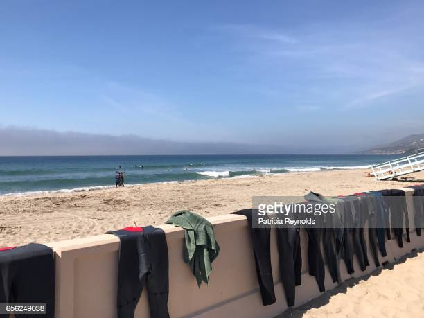 a couple walks the shoreline of zuma beach in malibu, ca, usa. - wetsuit stock pictures, royalty-free photos & images