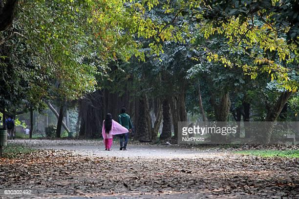 Couple walks through at Ramna park during the winter season in Dhaka Bangladesh on December 20 2016