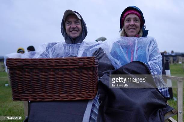 Couple watch a screening of The Greatest Showman during the Luna Cinema movie experience at Castle Howard on September 02, 2020 near Malton, England....