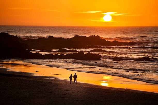 Couple Watch The Sunset At Carmel Beach In Carmel-by-the-Sea Wall Art