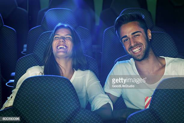Couple watching a comedy movie