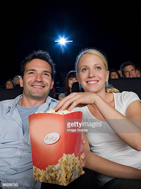 A couple watching a movie