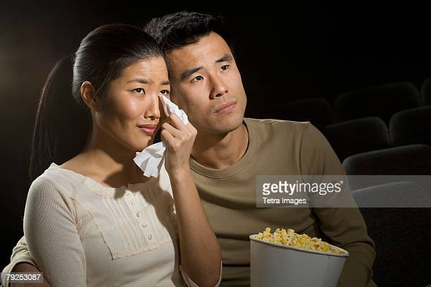 Couple watching a sad movie