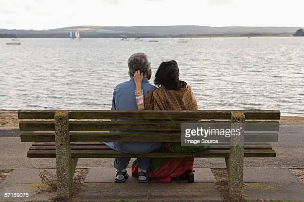 Couple watching boats