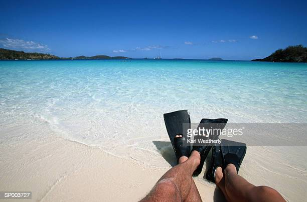 Couple Wearing Flippers Resting on a Sandy Beach