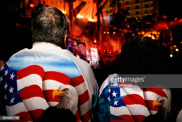 Couple Wearing Patriotic Jackets