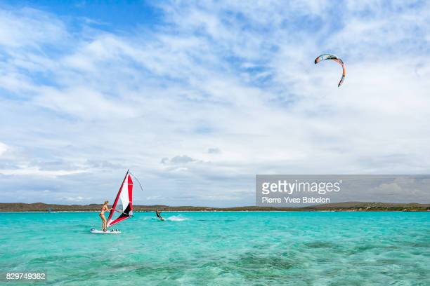 Couple windsurfer and kitesurfer