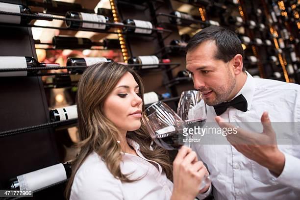 Couple winetasting at a cellar
