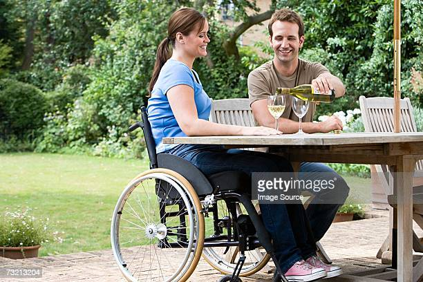 Couple with a bottle of wine