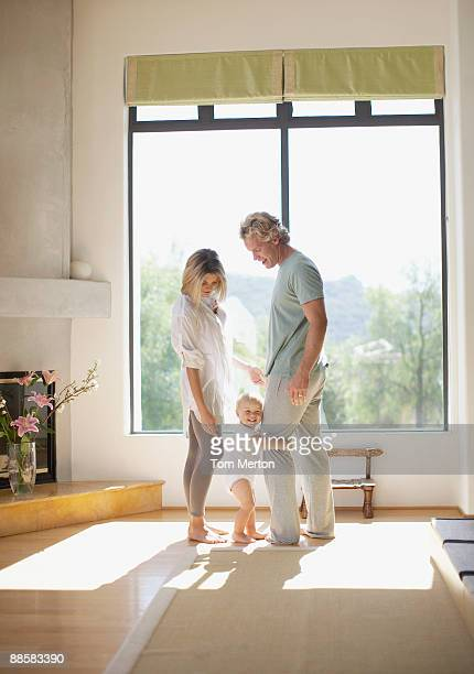 Couple with baby at home