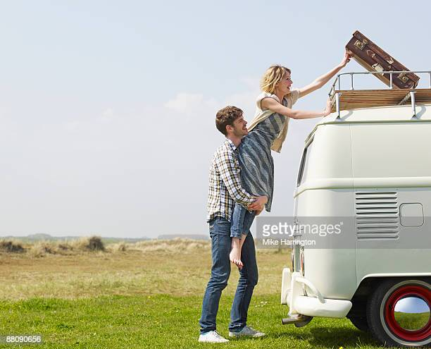 Couple with Camper Van
