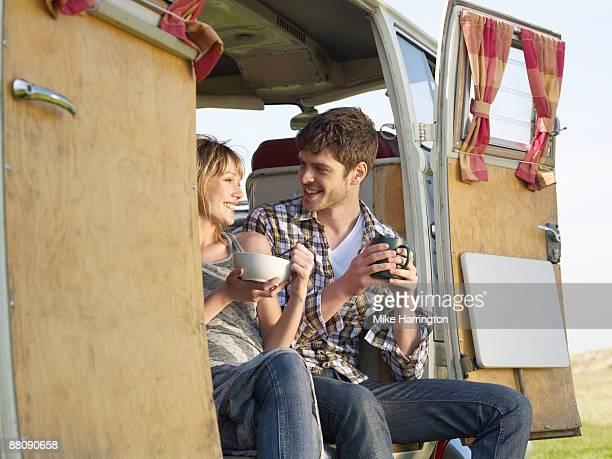 Couple with Camper Van