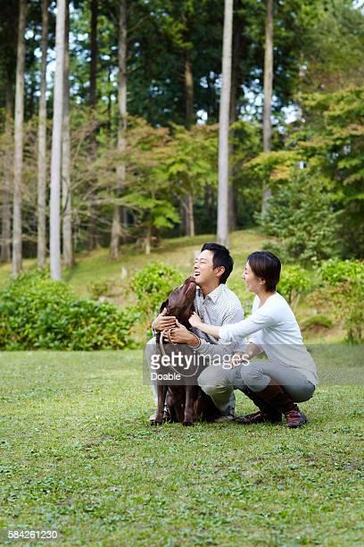 couple with chocolate labrador - イヌ科 ストックフォトと画像