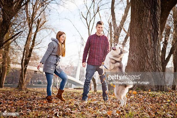 Couple with Dog in Park, Croatia