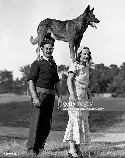 Couple with dog standing on their shoulders 1910s Couple with dog standing on their shoulders c 1910s