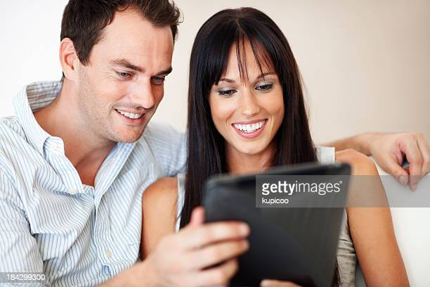 Couple with electronic tablet