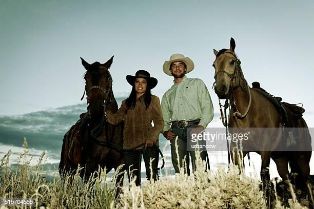 Couple avec des chevaux, Montana