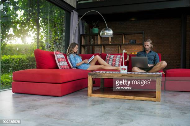 couple with laptop and book relaxing on red couch in modern living room with glass facade - premium access stock pictures, royalty-free photos & images