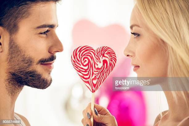 Couple with lollypop