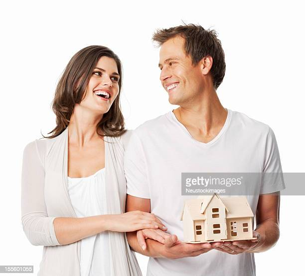 Couple With Model House - Isolated