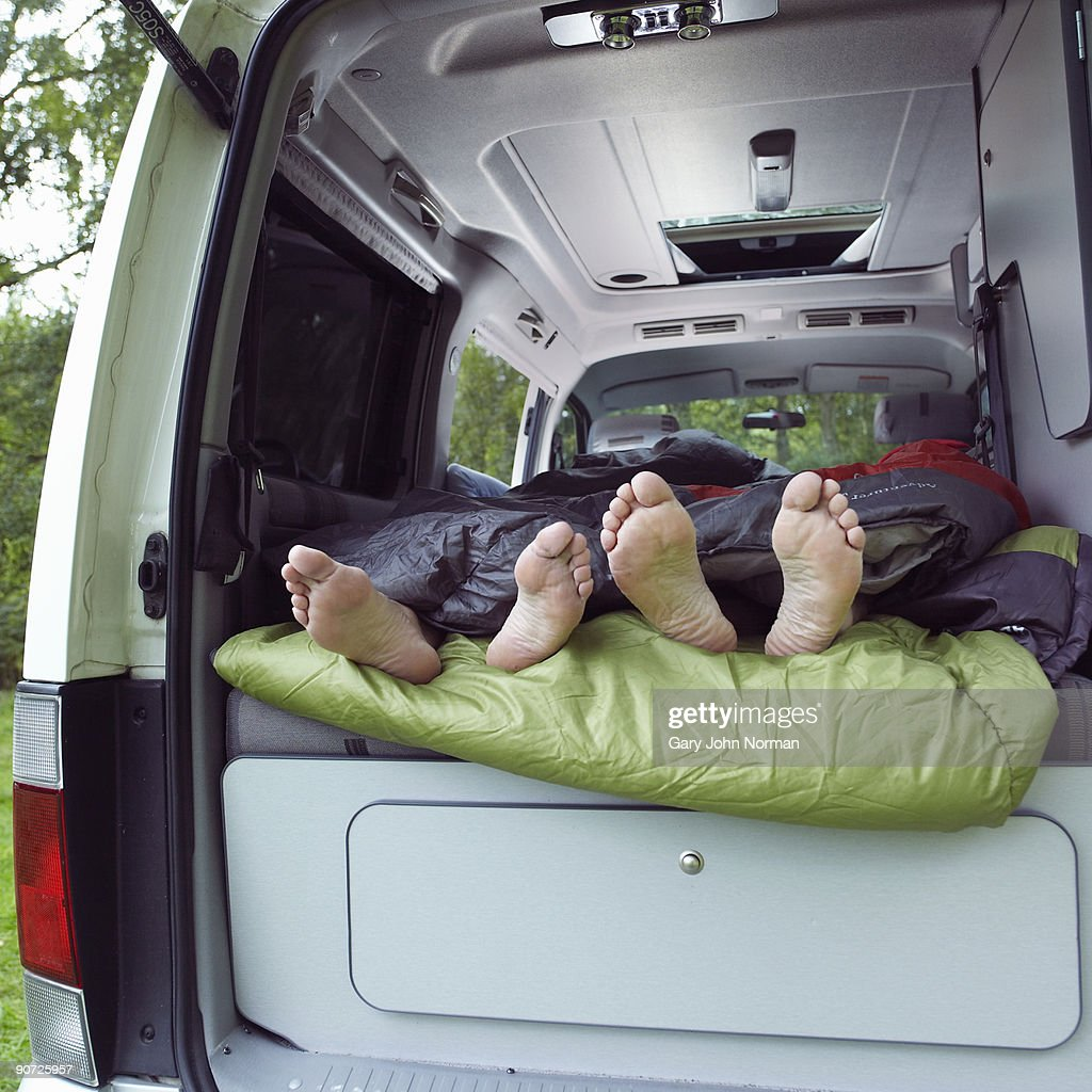 Couple with Motor home camping : Stock Photo