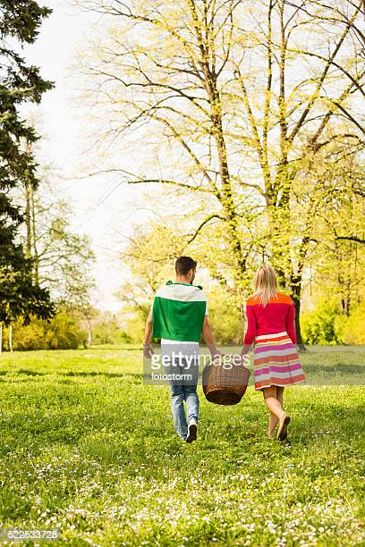 Couple with picnic basket  in park, rear view