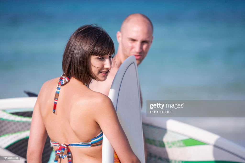 With Surf Boards By Seaside Mallorca Spain Stock Photo