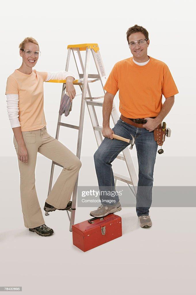 Couple with tools : Stockfoto
