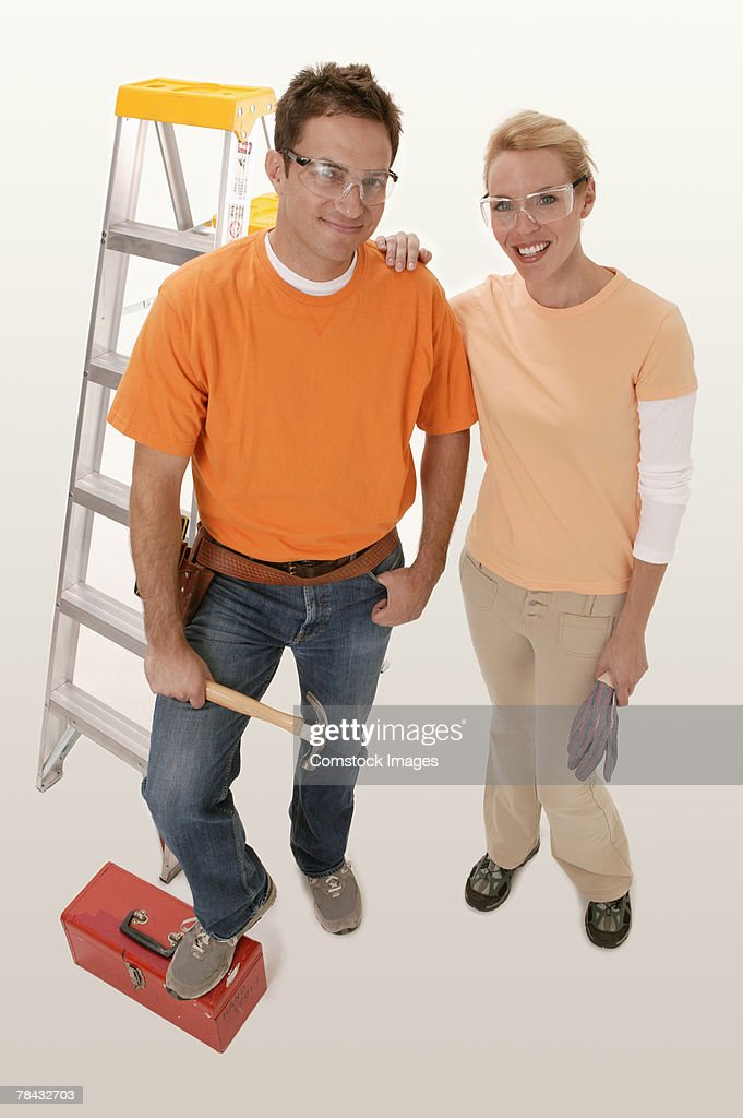Couple with tools : Stockfoto