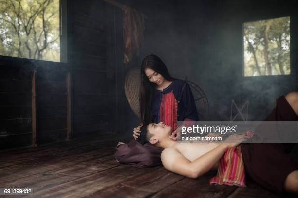 Couple woman and man in love feeling