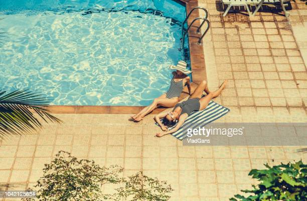 Couple woman in the swimming pool