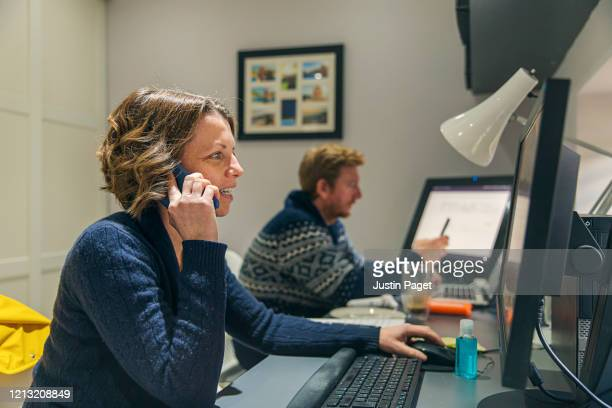couple working from home - micro organism stock pictures, royalty-free photos & images