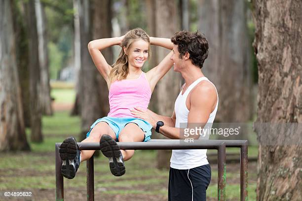 Couple working out together, Outdoor Fitness