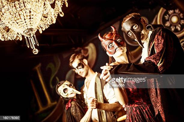 couples at the masquerade ball - period costume stock pictures, royalty-free photos & images
