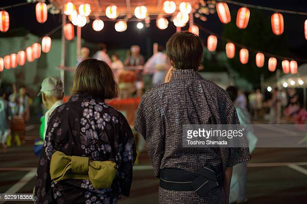 Couple's back shot in Japanese local festival