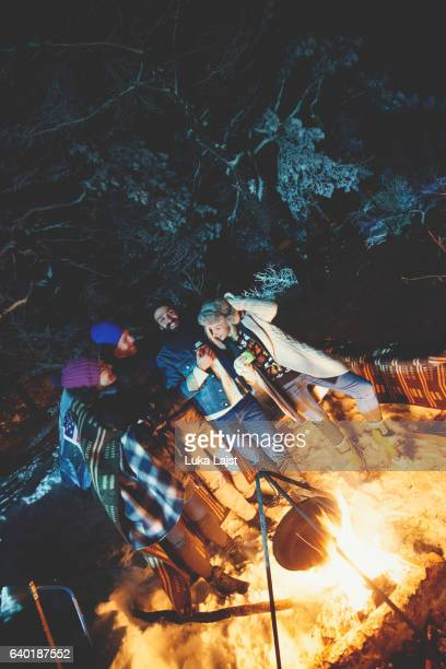 Couples camping in woods