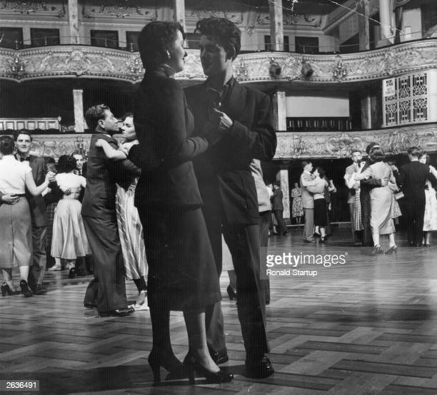 Couples dancing in the ballroom at Blackpool Tower. Original Publication: Picture Post - 6585 - The Story Of Blackpool Tower - pub. 1953