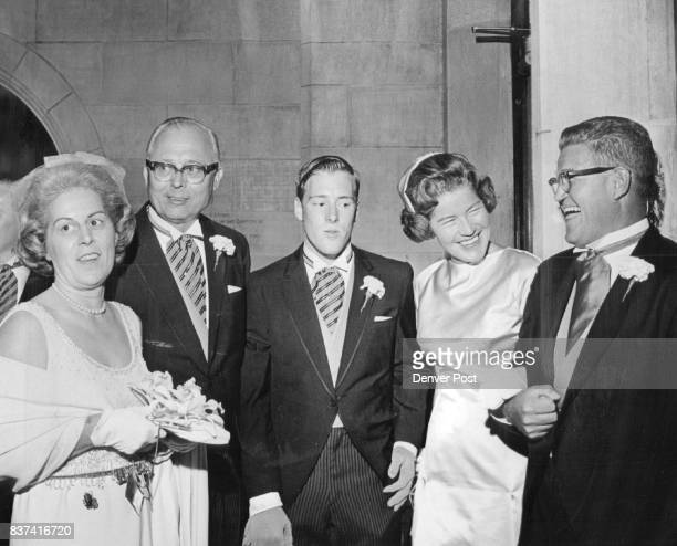 Couples Family Leaves Cathedral For Reception In Polo Grounds Mr and Mrs Floyd James Eldridge left and son Tom who was best man chat with Mrs Adolph...