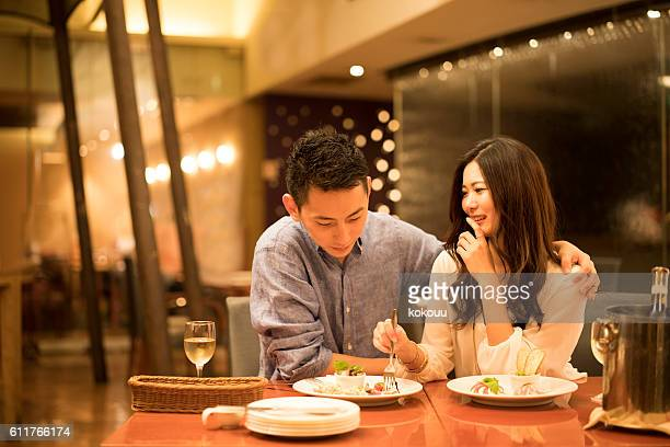 Couples have a meal in the restaurant